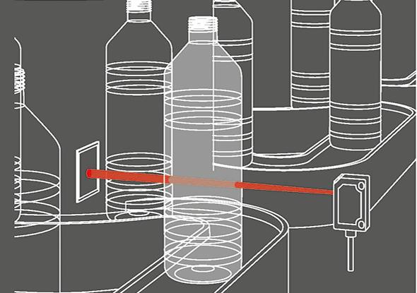 Applicatievoorbeeld glasdetectie met reflector fotocel FR 25-RGO - SensoPart