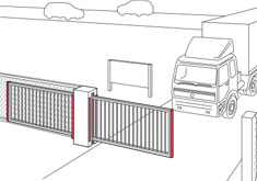 Terrain sliding gate with safety frame - ExpertLine - BBC Bircher Smart Access