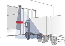 Aanleveren met truck via een vouwdeur