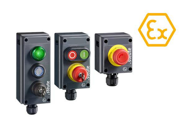 Boutons poussoirs et interrupteurs de commande de la série Ex BF 80 ATEX - steute