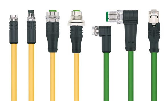 PVC-kabel voor industrial Ethernet en een EtherCAT-kabel met gele kabelmantel - ESCHA