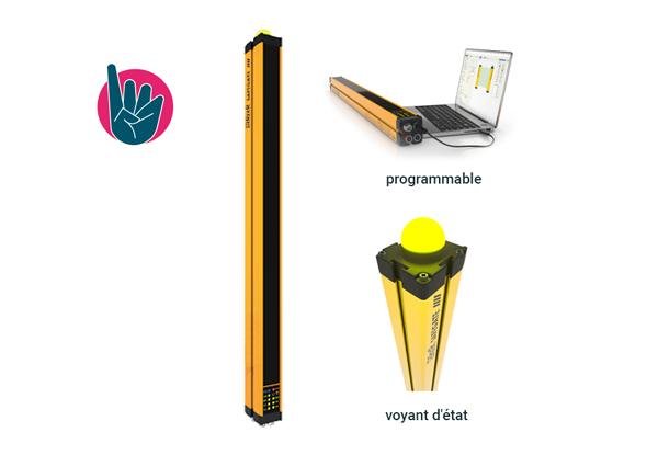Barrière immatérielle de sécurité pour la détection des doigts (résolution de 14 mm) - ReeR Safety